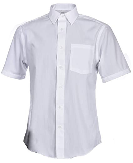 wide varieties the sale of shoes save off George Men's Short Sleeve Poplin Solid White Classic Fit Button-Up Dress  Shirt