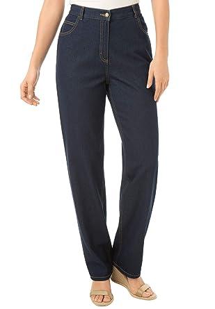 3bbd2e3e033 Woman Within Women s Plus Size Back-Elastic Straight Leg Cotton Jean at Amazon  Women s Clothing store