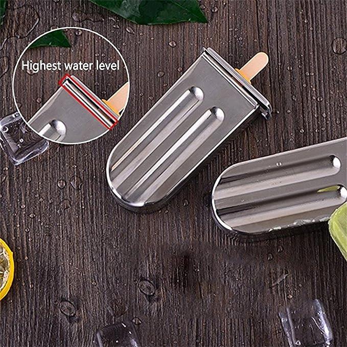 Flower205 - Molde de acero inoxidable para hacer paletas de hielo, 6 unidades Round double slot 6: Amazon.es: Hogar