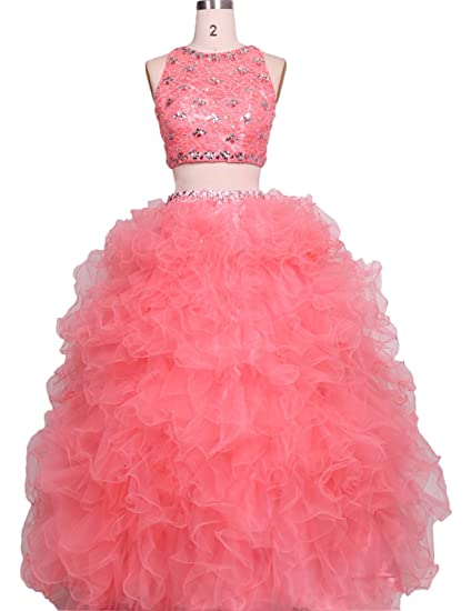 Stillluxury Two Piece Lace Tulle Ruffles Quinceanera Ball Gown Princess Prom Dress Coral Size 6