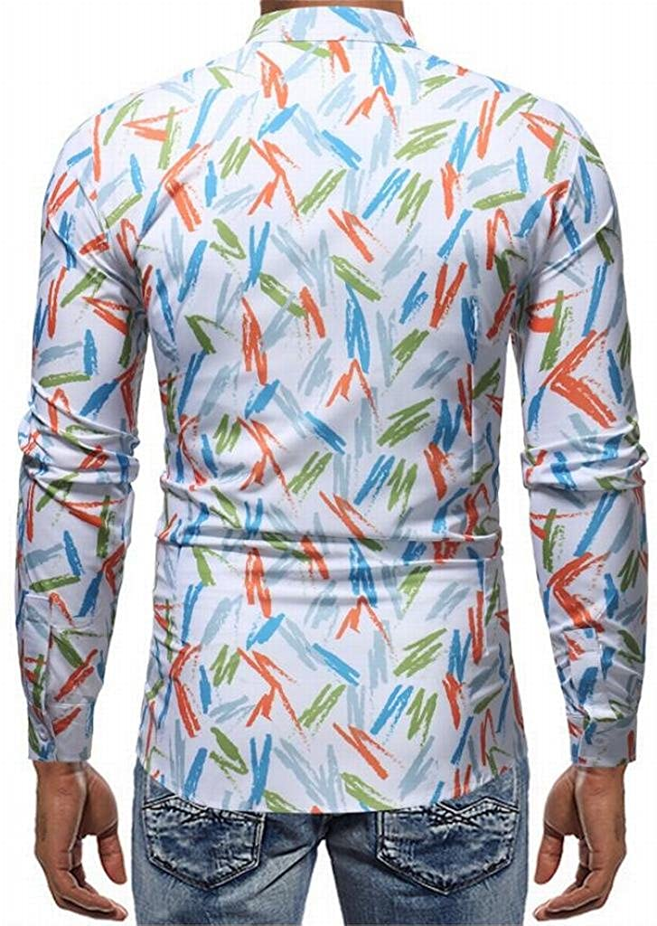 Mstyle Men Graffiti Regular Fit Long Sleeve Floral Turn Down Collar ComfortSoft Button Down Shirts Tops