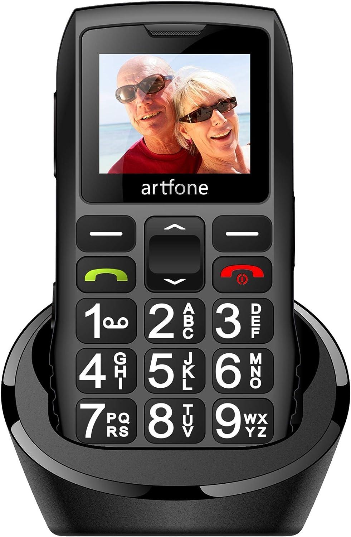 Teléfonos Móviles para Mayores con Teclas Grandes, artfone C1 Senior, Fácil de Usar Celular para Ancianos con Botón SOS y Base cargadora, Negro