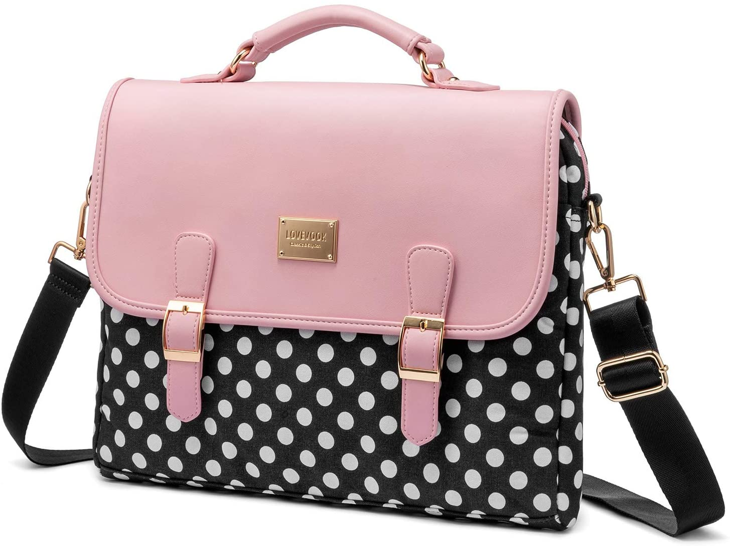 Computer Bag Laptop Bag for Women Cute Laptop Sleeve Case for Work College, Polka-Pink, 14-Inch