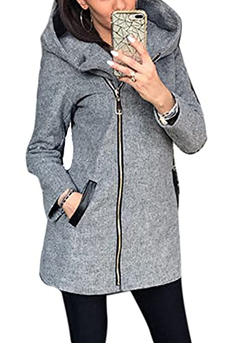 Mujeres Monocolor Oblicua Cremallera Con Capucha Hooded Sweater Coat