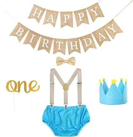 Cake Toppers Party Supplies Set Black 1st Birthday Cake Smash Outfit and Birthday Banner Crown Boy First Birthday Outfit and Decorations
