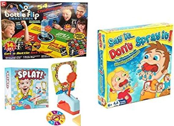 TOYLAND Juego de 3 - Juegos de Mesa Familiares Modernos - Flip de Botella, Dígalo, no lo rocíe y salpique: Amazon.es: Juguetes y juegos