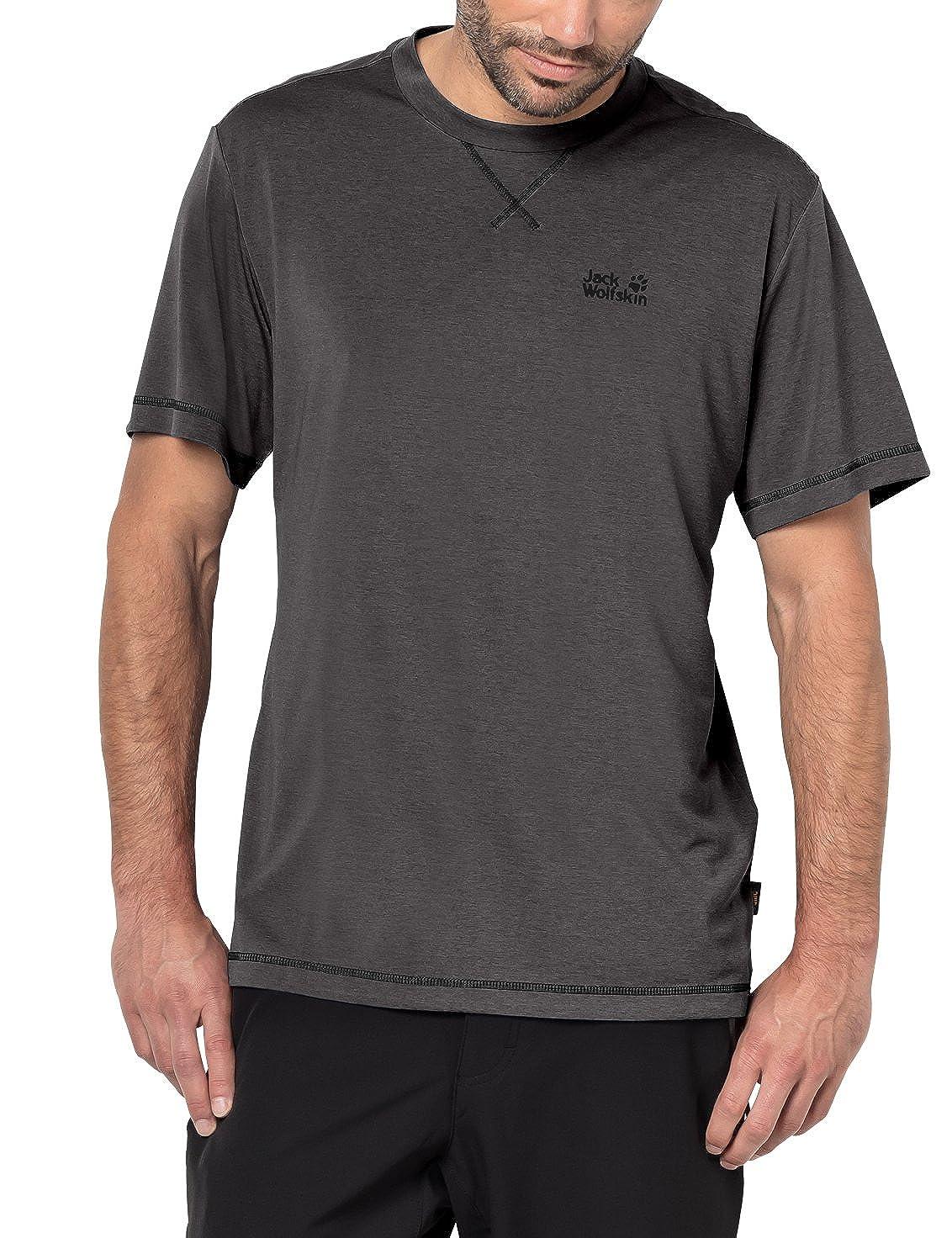 gris foncé L Jack Wolfskin Crosstrail T T-Shirt Fonctionnel pour Homme