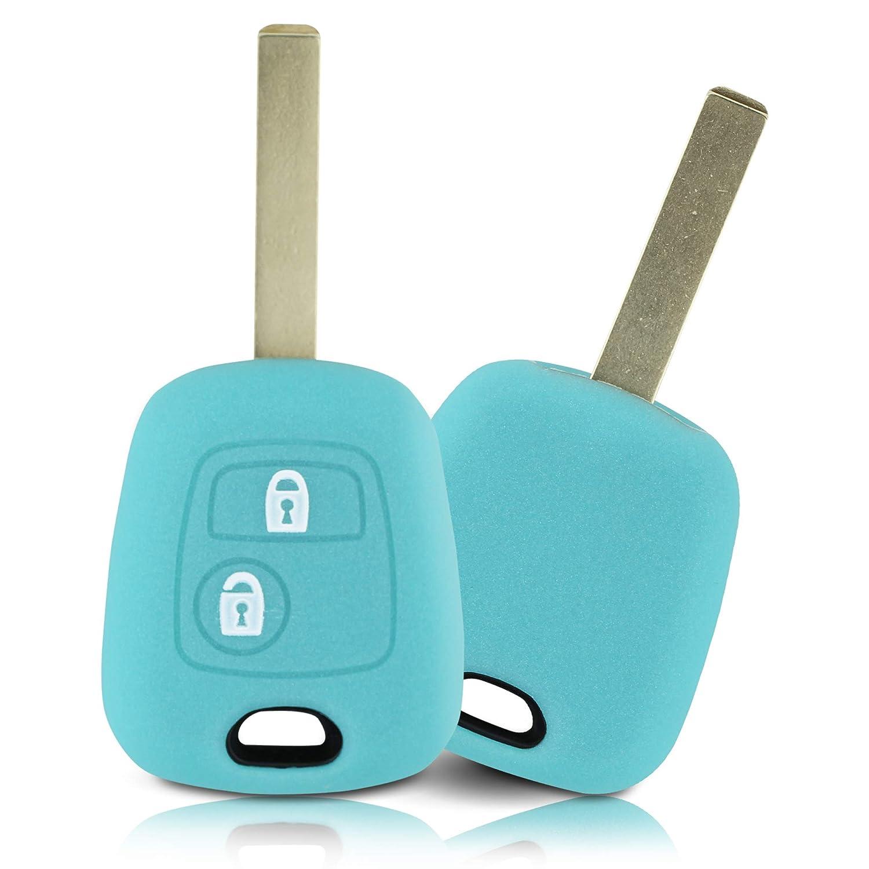 Blanc Couvercle de Protection pour cl/és de Voiture Couvercle pour Type de cl/é 2BK ASARAH Couvercle de cl/é en Silicone Premium Compatible avec Peugeot