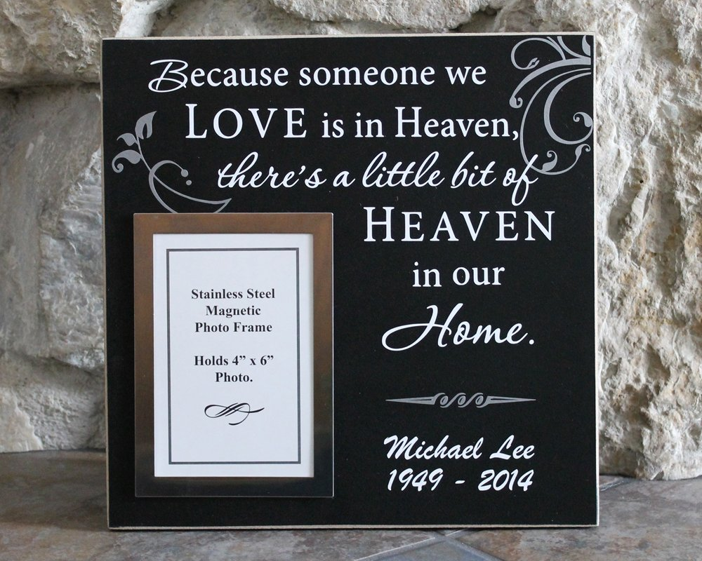 Because someone we love is in heaven 12x12 bereavement picture frame theres a little bit of heaven in our home photo frame personalized sympathy frame