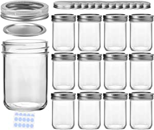 KAMOTA Mason Jars, 8 oz Glass Jars With Regular Lids and Bands, Ideal for Jam, Honey, Wedding Favors, Shower Favors, Baby Foods, DIY Magnetic Spice Jars, 12 PACK, Extra 12 Lids & 20 Whiteboard Labels