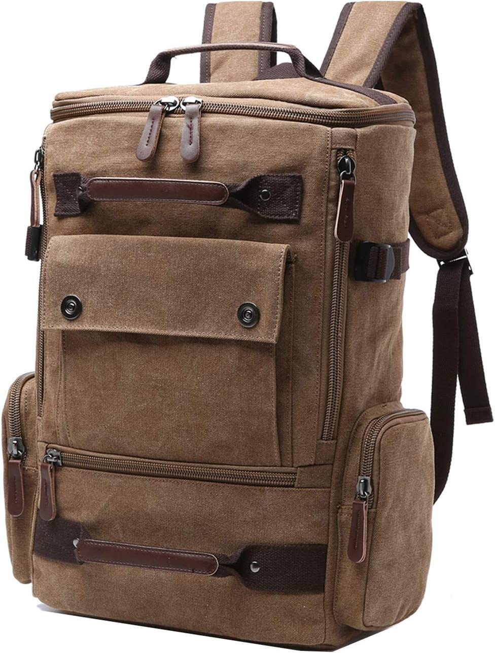 Canvas Backpack, Aidonger Vintage Canvas School Backpack Hiking Travel Rucksack Fits 15 Laptop Coffee