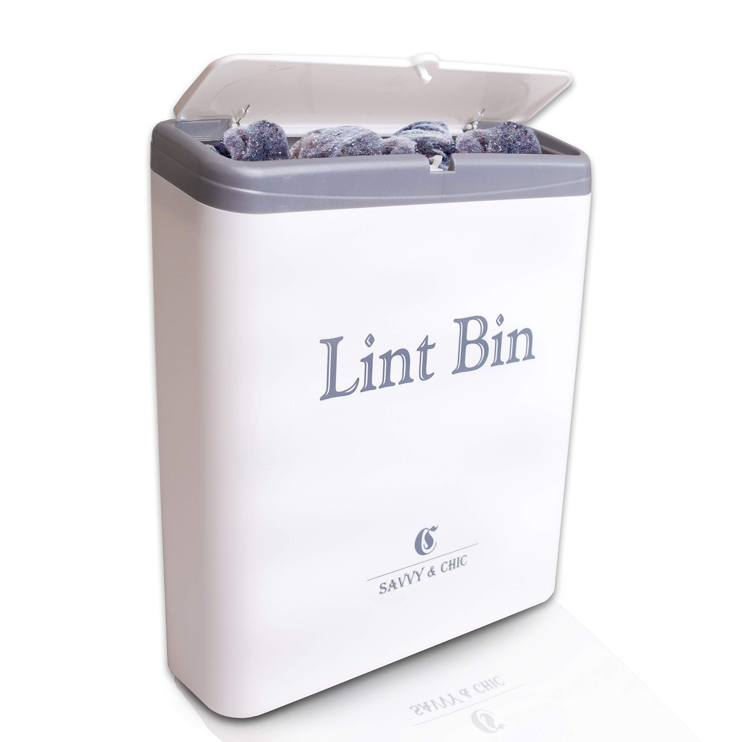 SAVVY & CHIC Lint Bin with Lid Laundry Room Organizer - Small Trash Bin, Tiny Waste Can - Magnetic or Wall Mountable Mini Garbage Storage, Warm White