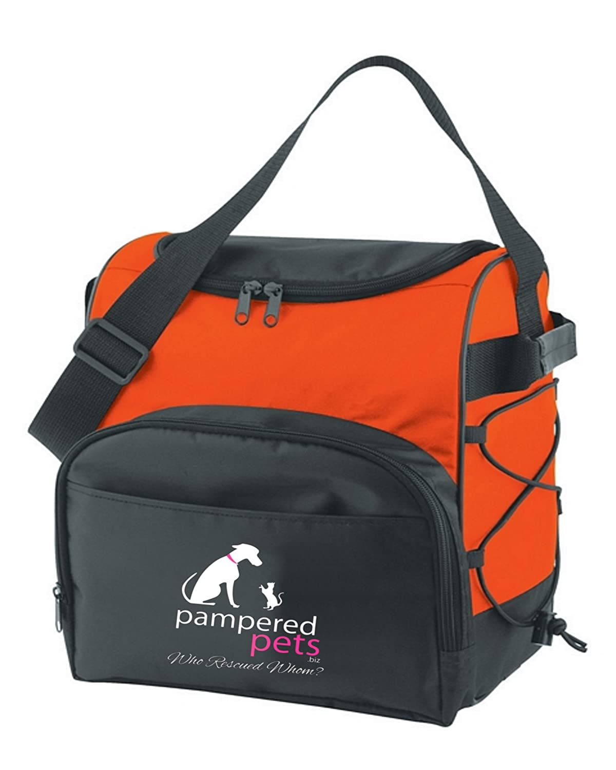Pampered Pets 12 Can Dual Zippered Travel Cooler Who Rescued Whom orange