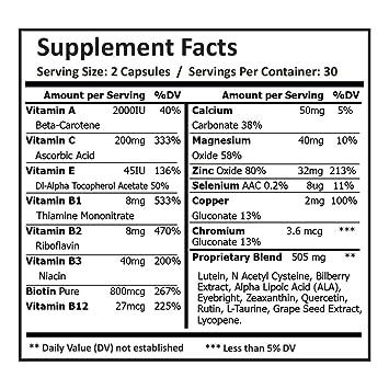 Pure Science Fórmula ocular - Luteína y zeaxantina mejoradas con mezcla patentada de arándanos y vitaminas - Suplementos perfectos para apoyo ocular - ...