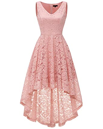 71ad5bd64dd Bridesmay Women s Elegant V-Neck Vintage High Low Sleeveless Floral Lace  Cocktail Party Swing Dress