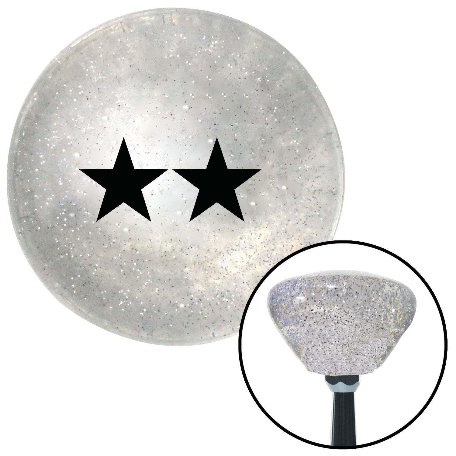 American Shifter 165602 Clear Retro Metal Flake Shift Knob with M16 x 1.5 Insert Black Officer 08 - Major General
