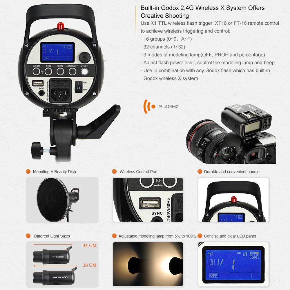 GODOX SK400II 400Ws 110V Professional Studio Strobe SK Series Power 5600K Max 400WS GN58 Flash Studio Light by Godox (Image #3)