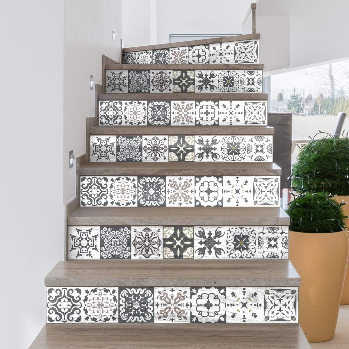 Stickers adh/ésifs escalier carrelages 4 bandes Sticker Autocollant contremarche Carreaux de ciment Stickers contremarche carrelages azulejos 15 x 105 cm Escalier carreaux de ciment adh/ésif