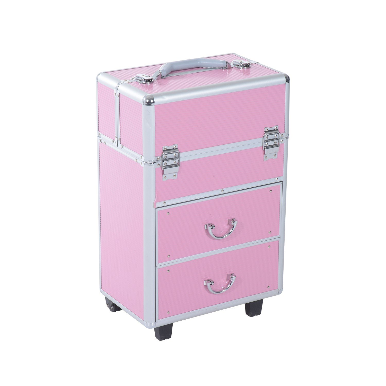 Lockable Makeup Cosmetic Train Case Extendable Trays W/ Drawer Professional Organizer With Ebook