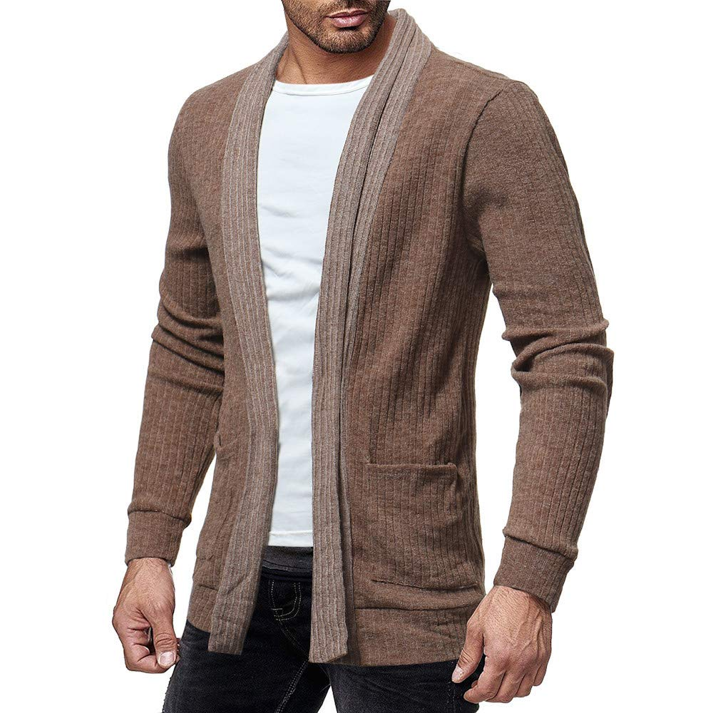 Mens Cardigan Sweaters Big and Tall Stripe Solid Sport Coat Lightweight Casual Loose Fit Jacket Coat Business Lapel Suit