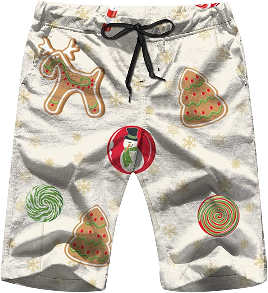 Christmas Illustrations Clip Art Men Board Shorts Casual Printed Trunks Work Casual Shorts