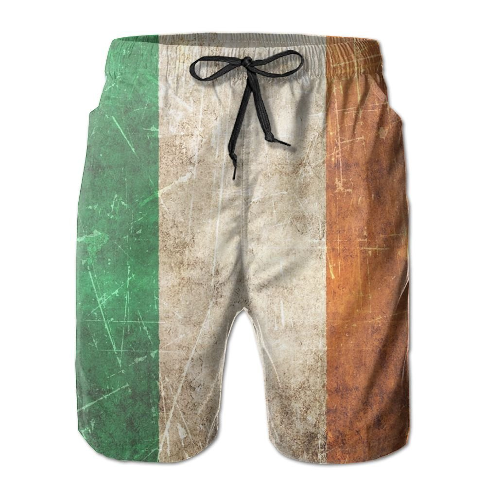 Vintage Aged Irish Flag Men's Swim Trunks Quick Dry Elastic Waist Beach Short With Pockets XXL dhfddf