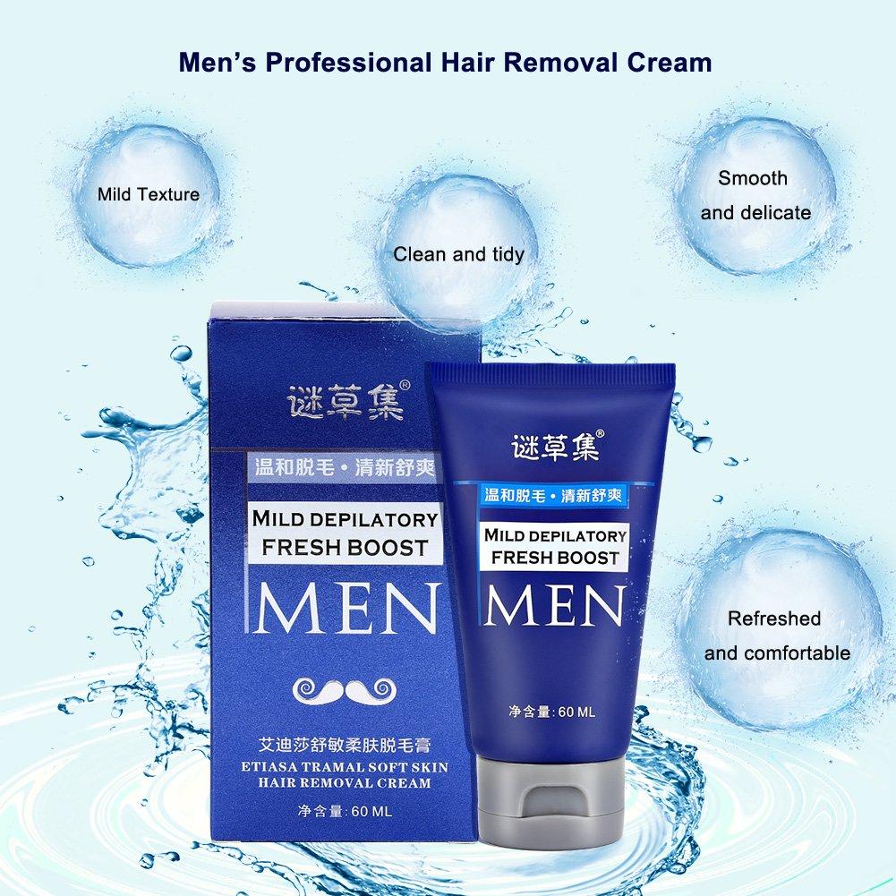 Crema Depilatoria para Hombres, 60ML Crema depilatoria para hombres Depilación depilatoria rápida y eficaz depilación en bikini, axila, pecho, espalda, ...