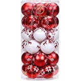 """Sea Team 60mm/2.36"""" Delicate Painting & Glittering Christmas Tree Pendants Shatterproof Hanging Christmas Ball Ornaments Set - 30 Pieces, Red & White"""