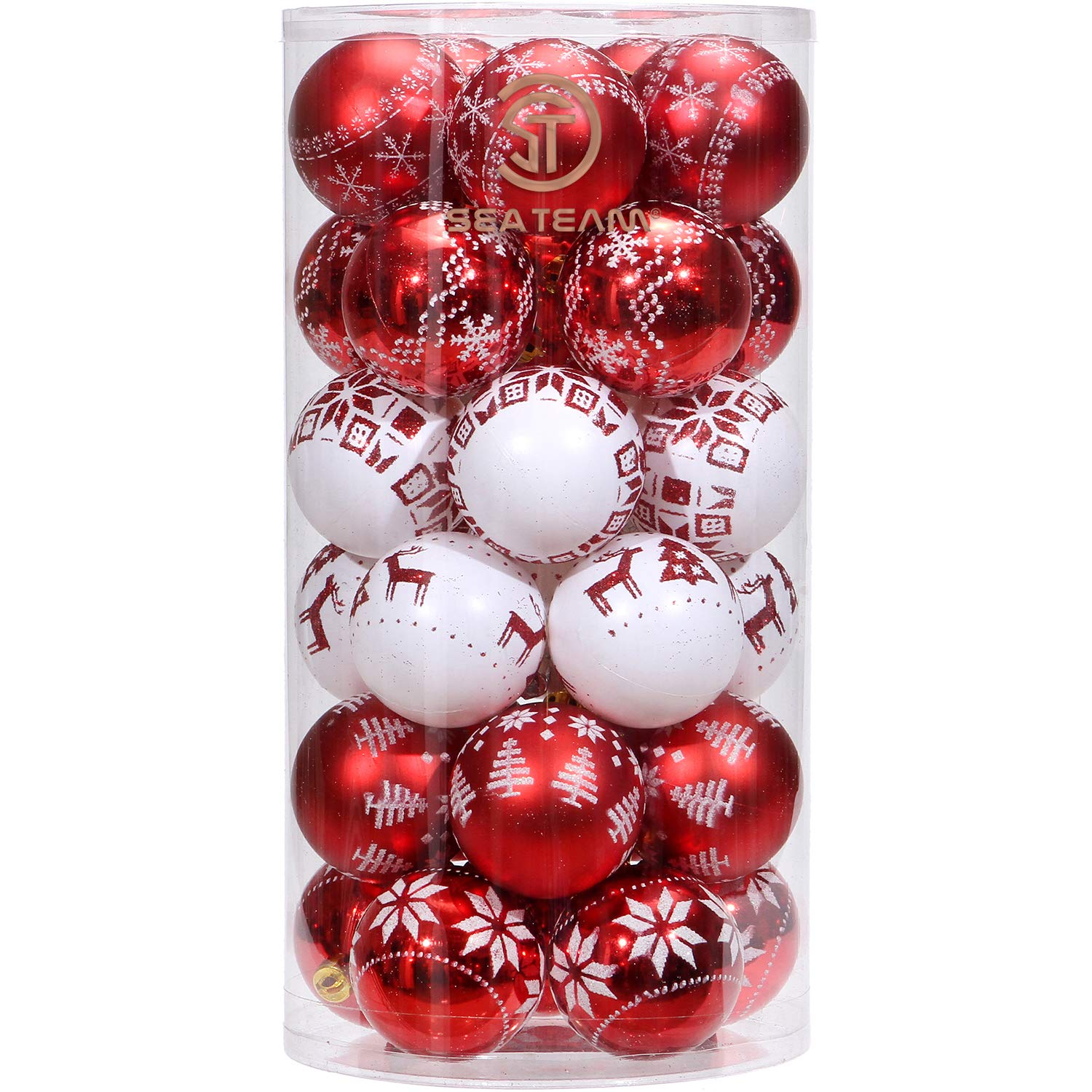 Sea Team 60mm/2.36 Delicate Painting & Glittering Christmas Tree Pendants Shatterproof Hanging Christmas Ball Ornaments Set - 30 Pieces, Red & White STCB30B6A-RW