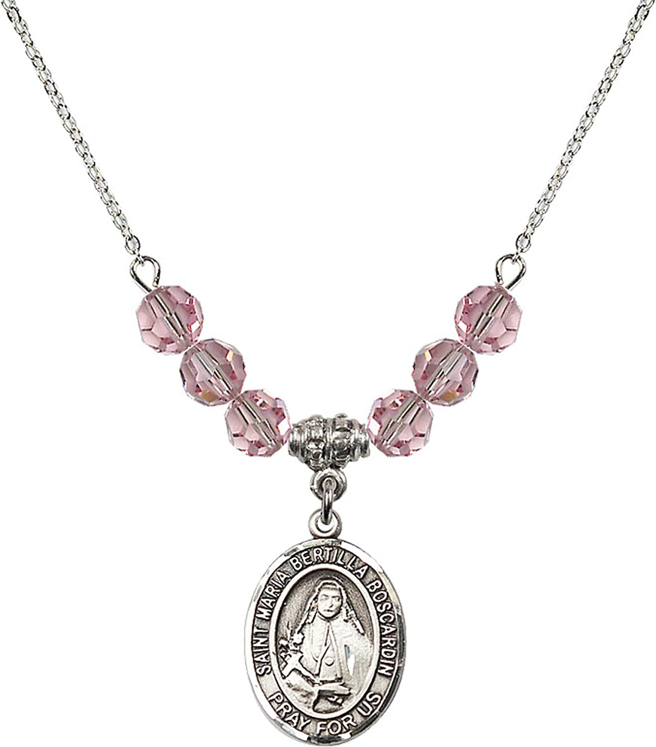 18 Inch Rhodium Plated Necklace w// 6mm Light Rose Pink October Birth Month Stone Beads /& Saint Maria Bertilla Boscardin Charm