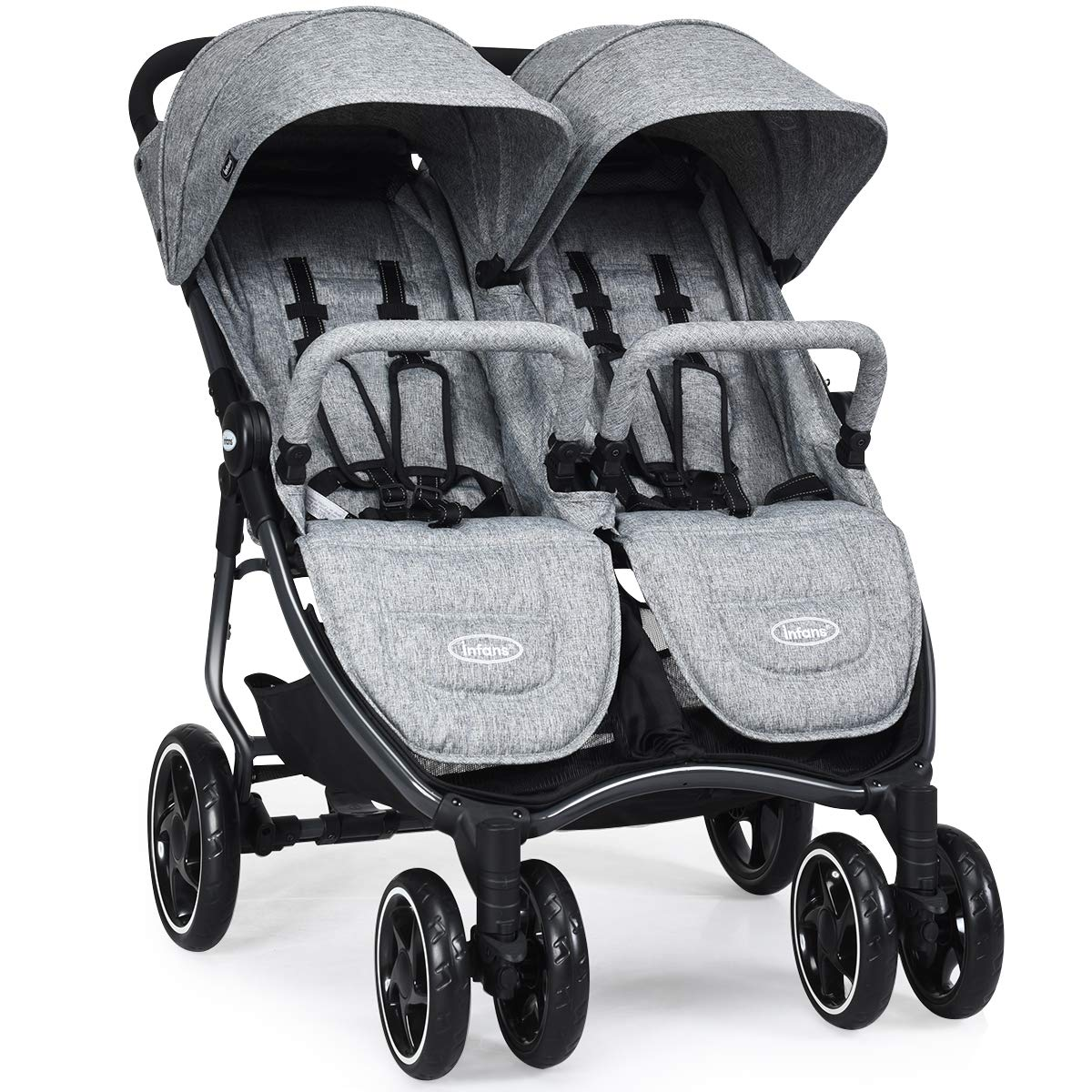 INFANS Double Stroller, Lightweight & Easy Folding Duo Baby Stroller with Side by Side Twin Seats, Night Reflective 5-Point Safety Harness, Suitable for 6 Months to 3 Years (Grey) by INFANS
