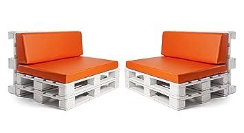 Conjunto colchonetas para sofas de palet y respaldos (2 x Unidades) Cojin relleno con espuma.Color Naranja | Cojines para chill out, interior y ...