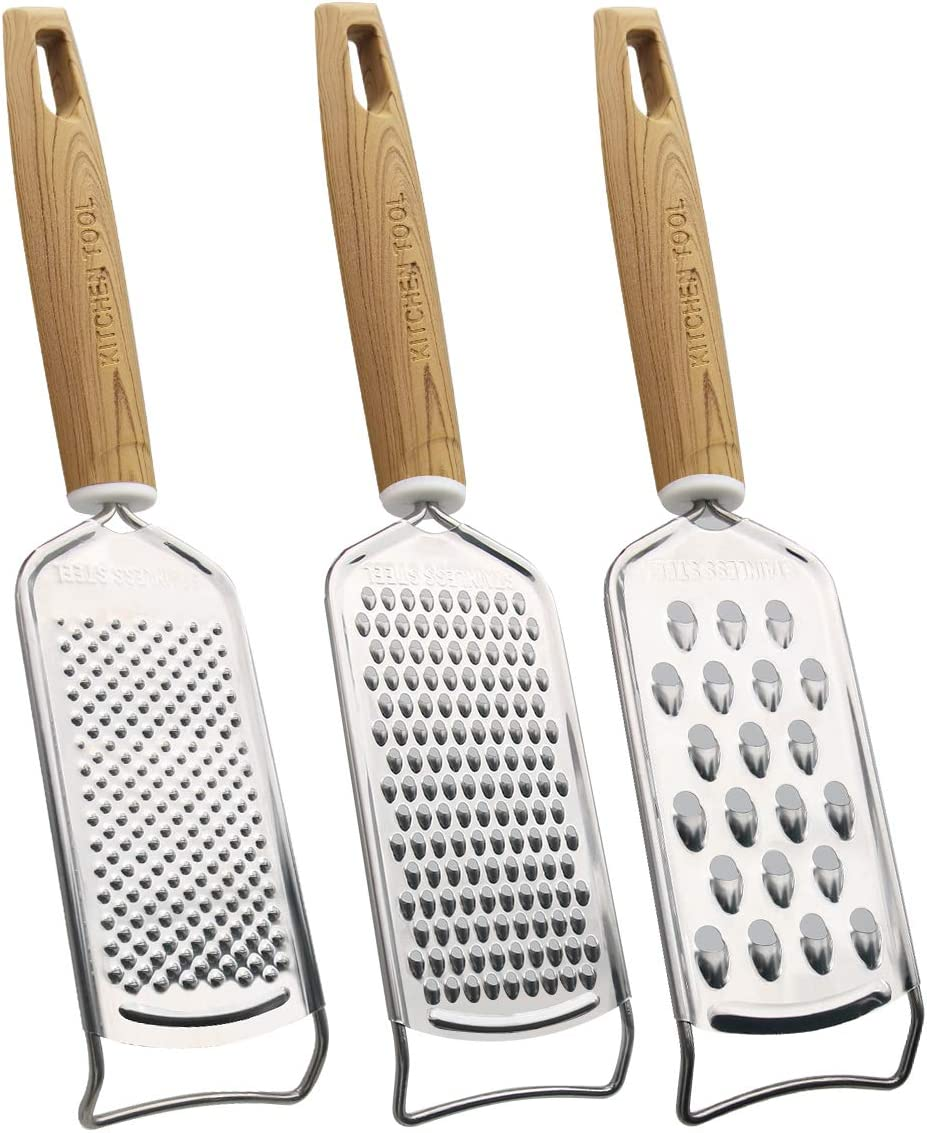 MGLIMZ Handle Cheese graters for Kitchen,Stainless Steel Multi-Purpose Food Grater Slicer for Vegetable Fruit Chocolate (3PCS)