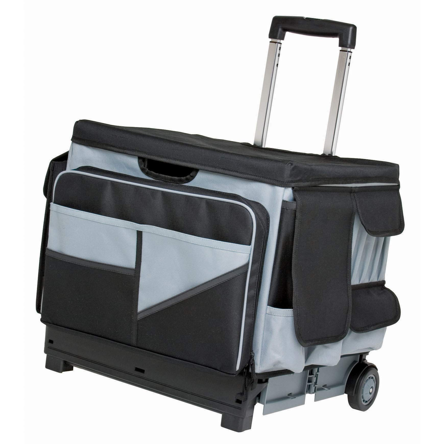 ECR4Kids MemoryStor Universal Rolling Cart and Organizer Bag Set, Moving Cart, Teacher Cart, Rolling Cart with Handle, Folds Flat to 3 inches, 30 Compartments & Pockets, Holds 65 lbs by ECR4Kids