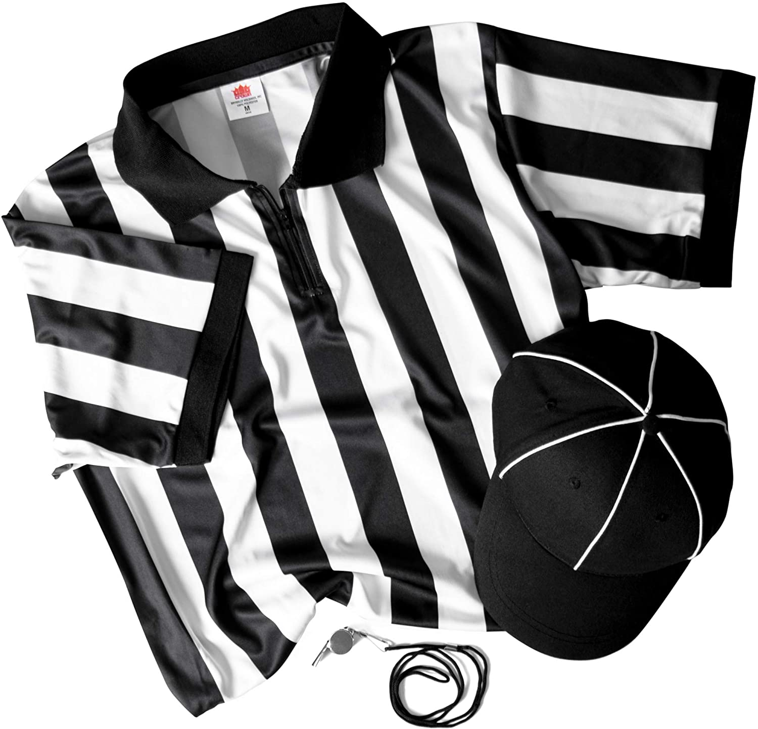 Umpire Hat Referee Necessities Mens Bundle Pro//Amateur Team Sports Costume Apparel Kit for Men Black /& White Striped Official Jersey /& Stainless Steel Ref Pea Whistle with Lanyard