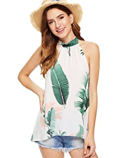 8c8465903d207 Floerns Women s Sleeveless Halter Neck Floral Tops Blouse Shirt