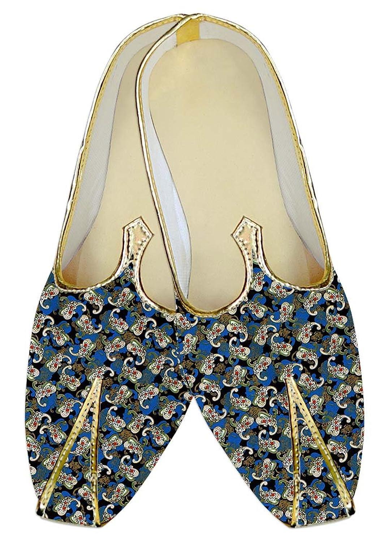 INMONARCH Azul Hombres Boda Zapatos Diseño Floral MJ014497 46 EU