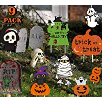Halloween Decorations Pumpkin Themed 9 PieceFamily Friendly Yard Decoration Signs, Including 4 Pumpkins, 2 Ghost, 1…
