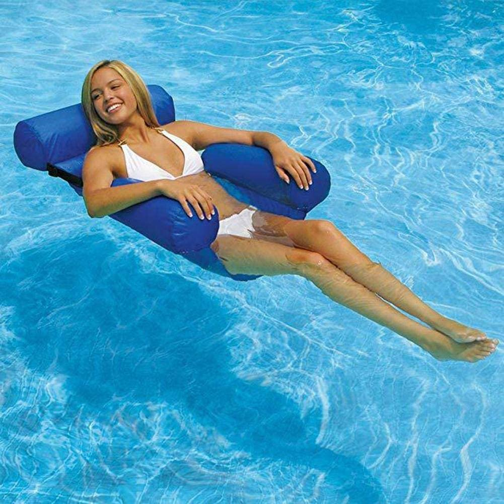 MandoPon Water Chair Adults Inflatable Swimming Pool Float Lounge Comfortable Lake Floating Chairs Pool Seats Lounger Portable Lazy Water Floats Bed for Summer Travel