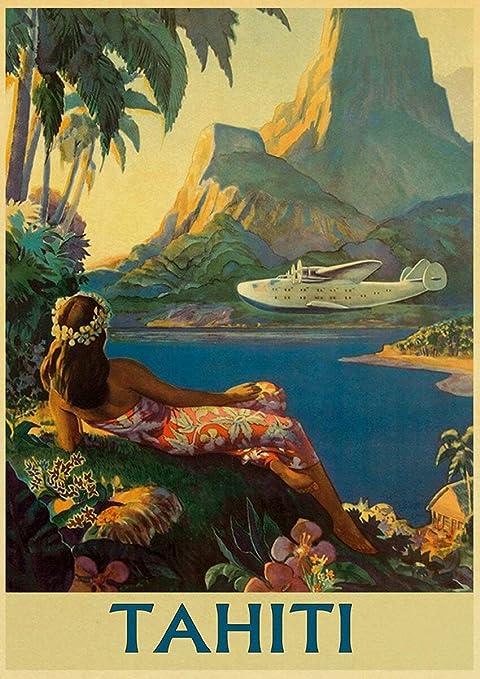 Wall Art Tahiti Paradise Art//Canvas Print Home Decor Poster
