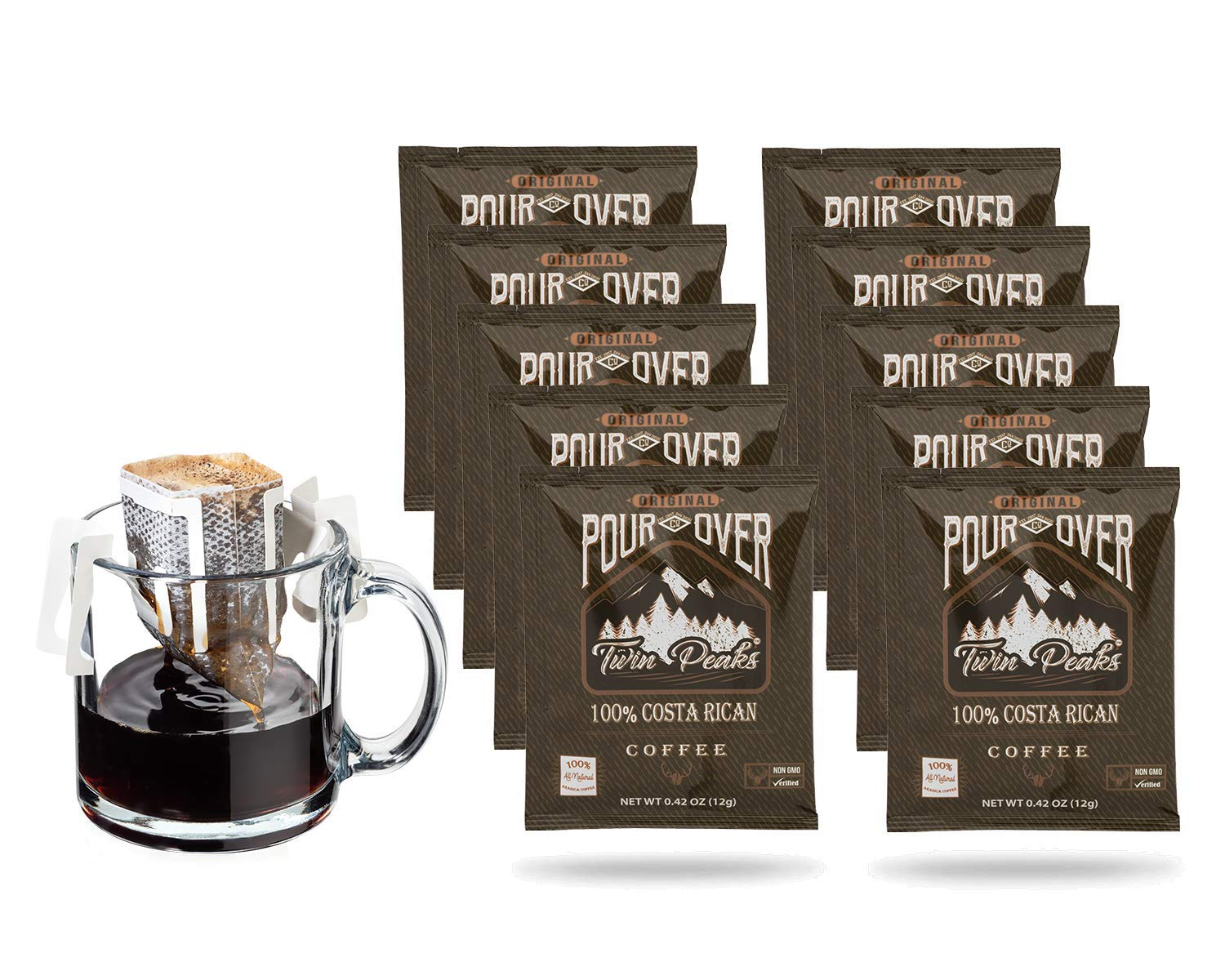 Twin Peaks 100% Costa Rican Single-Serve Pour Over Coffee Pouches, 10 Count Box