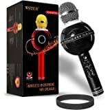 Kartik WS-878 Wireless Bluetooth Karaoke Condenser Microphone with Party Lights for Singing Recording (Colour May Vary)