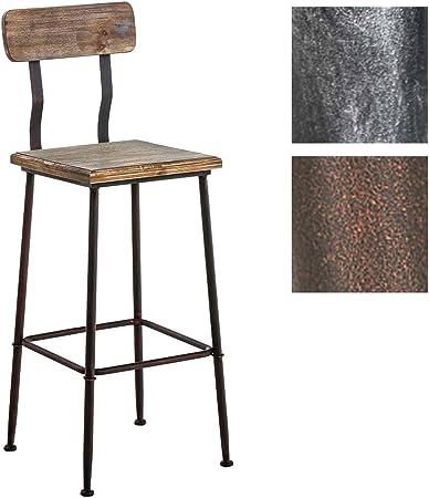 Chaise de bar de style industriel Métal noir et assise bois
