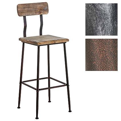 meilleur service f154b c0a6c CLP Tabouret de bar QUEENS avec un dossier, style industriel, 4 pieds,  chaise haute en bois et métal, hauteur de l'assise en. 75 cm bronze