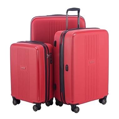 "HAUPTSTADTKOFFER Ostkreuz Luggages Set Matt Suitcase Set Hardside Spinner Trolley Expandable (20"", 24"" & 28"") TSA F-Red"