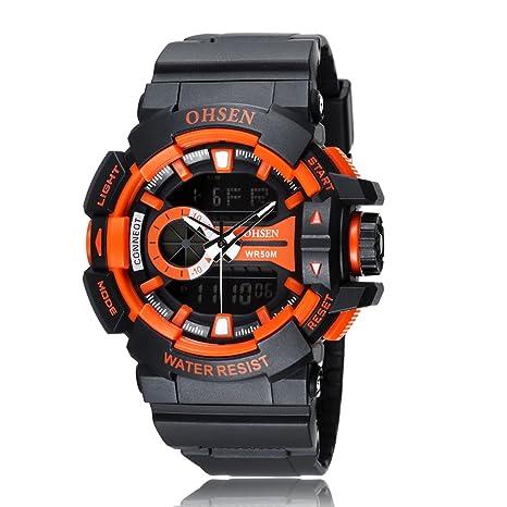 UKCOCO OHSEN AD1505 Reloj de Deportes de Cuarzo Digital con Pantalla LED de Cuarzo Digital para