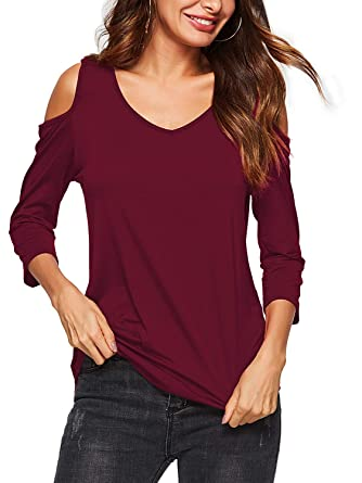7b6cf4e909c9ea Beluring Damen Cold Shoulder T-Shirt Bluse Tops V-Ausschnitt T Shirt  Langarm Lässige