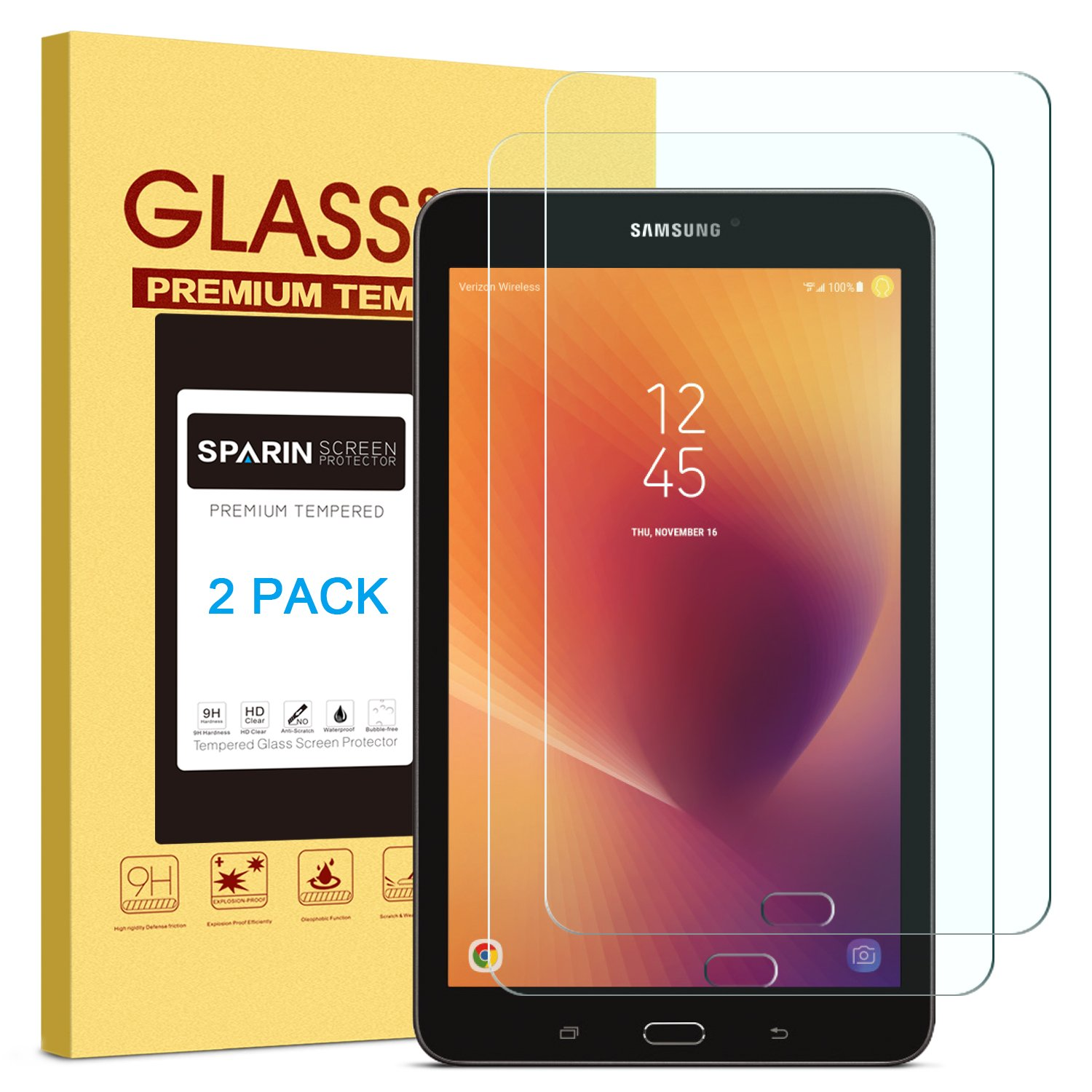 [2 PACK] Galaxy Tab E 8.0 Screen Protector, SPARIN [Tempered Glass] [Bubble-Free] Screen Protector for Samsung Galaxy Tab E 8.0 Inch Tablet (2017/2016 Version)
