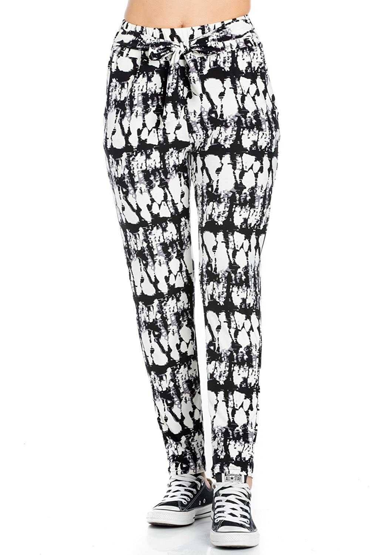 Blackwhite My Yuccie Women's Super Soft Comfy Print Jogger Pants with Zipper Side Pockets (S  XL)