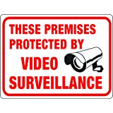 """Hy-Ko Plastic Sign White 9"""" X 12"""" Protected By Video Surveillance Polystyrene"""